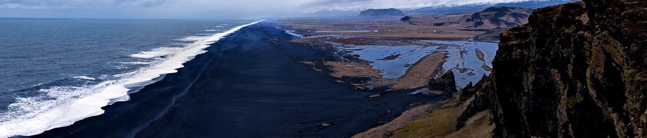 Praias de areia preta, Dyrholaey, Islândia